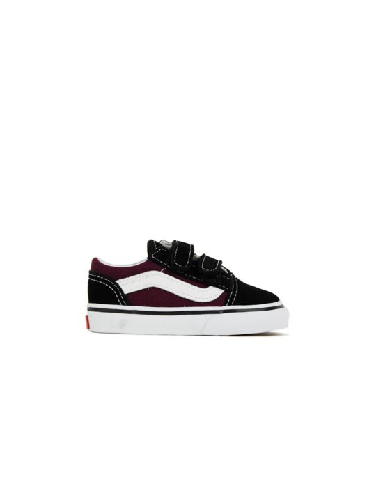 Vans Old Skool V(POP) Black/Burgundy (VA344KQ7J)