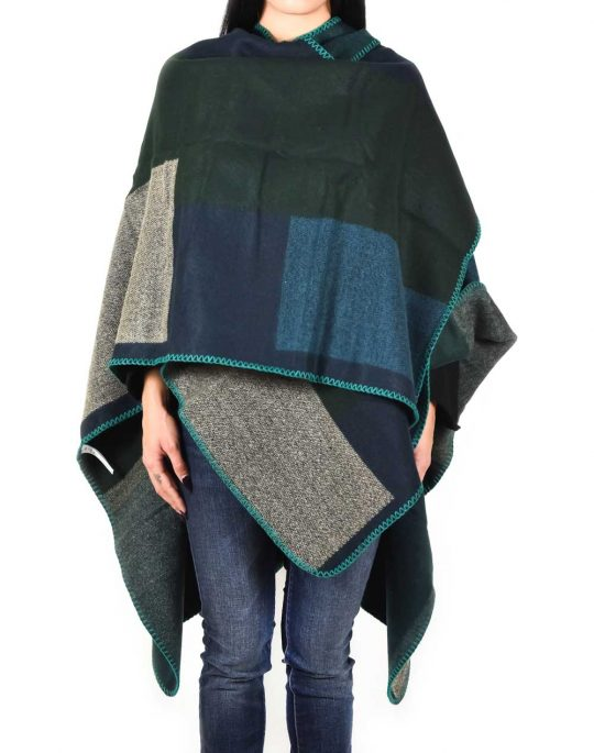 ONLY WEAVED BLOCK PONCHO 15121701 GREEN