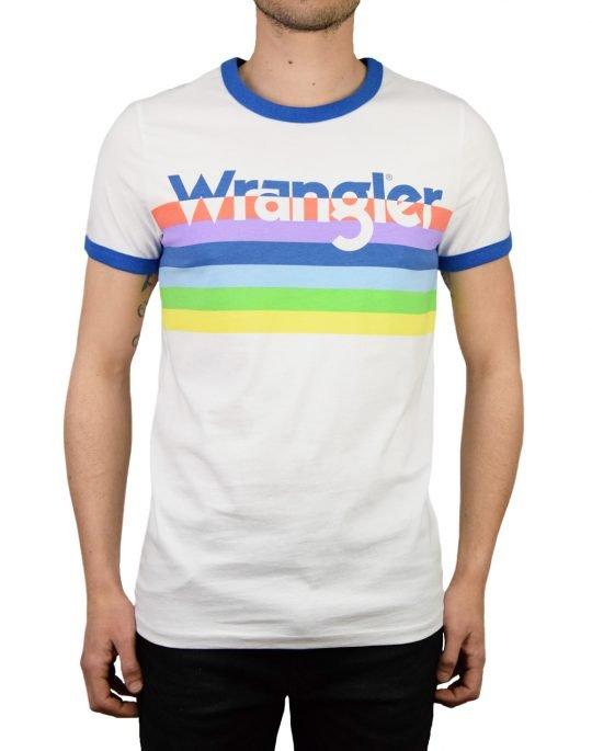 Wrangler Ringer Rainbow Tee (W7C26FK12) White