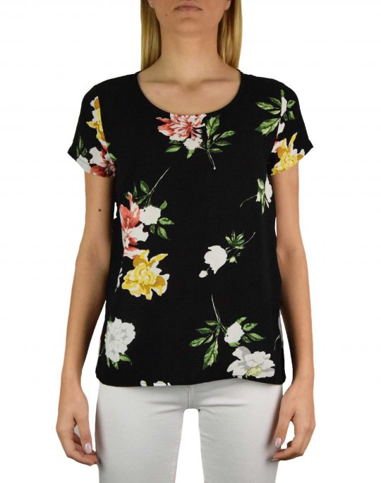 Only First One Life Top Tee (15198608) Black/Dalia Flower