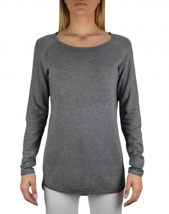Only Mila Lacy Long Pullover Knit (15109964) Medium Grey Melange