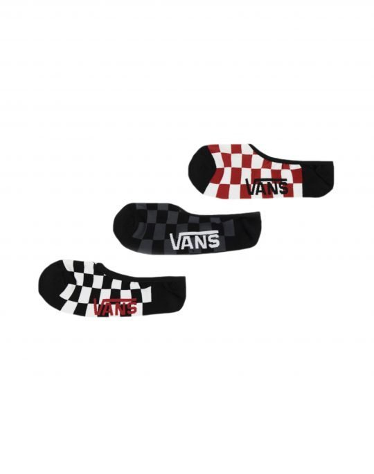 Vans Classic Super No Show Shocks 3 Pack (VN000XS9RLM1) Red/White/Check
