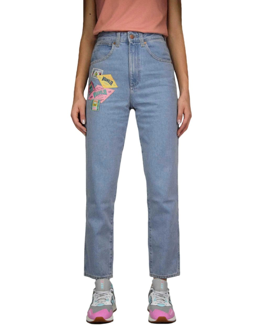 Wrangler Mom Jeans Honolulu (W246WP76Q) Bleach Denim