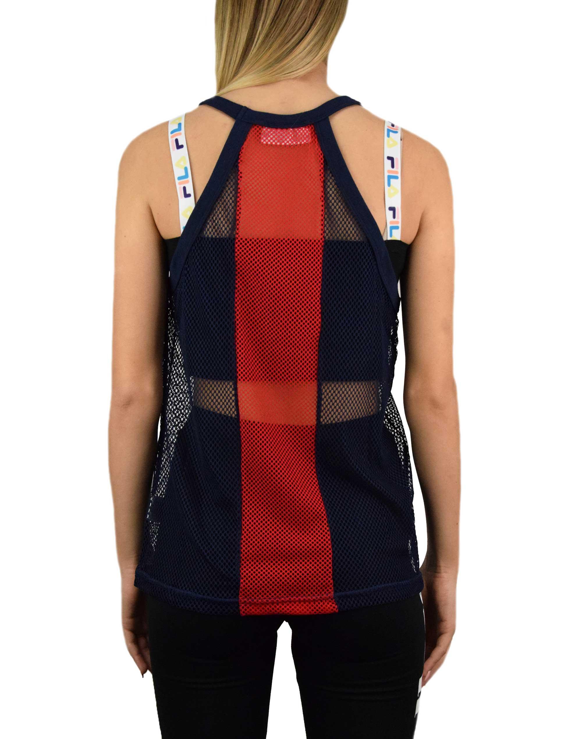 Fila Bobbi Stripe Mesh Vest (LW015986 410) Peacoat/Chinesse Red/White