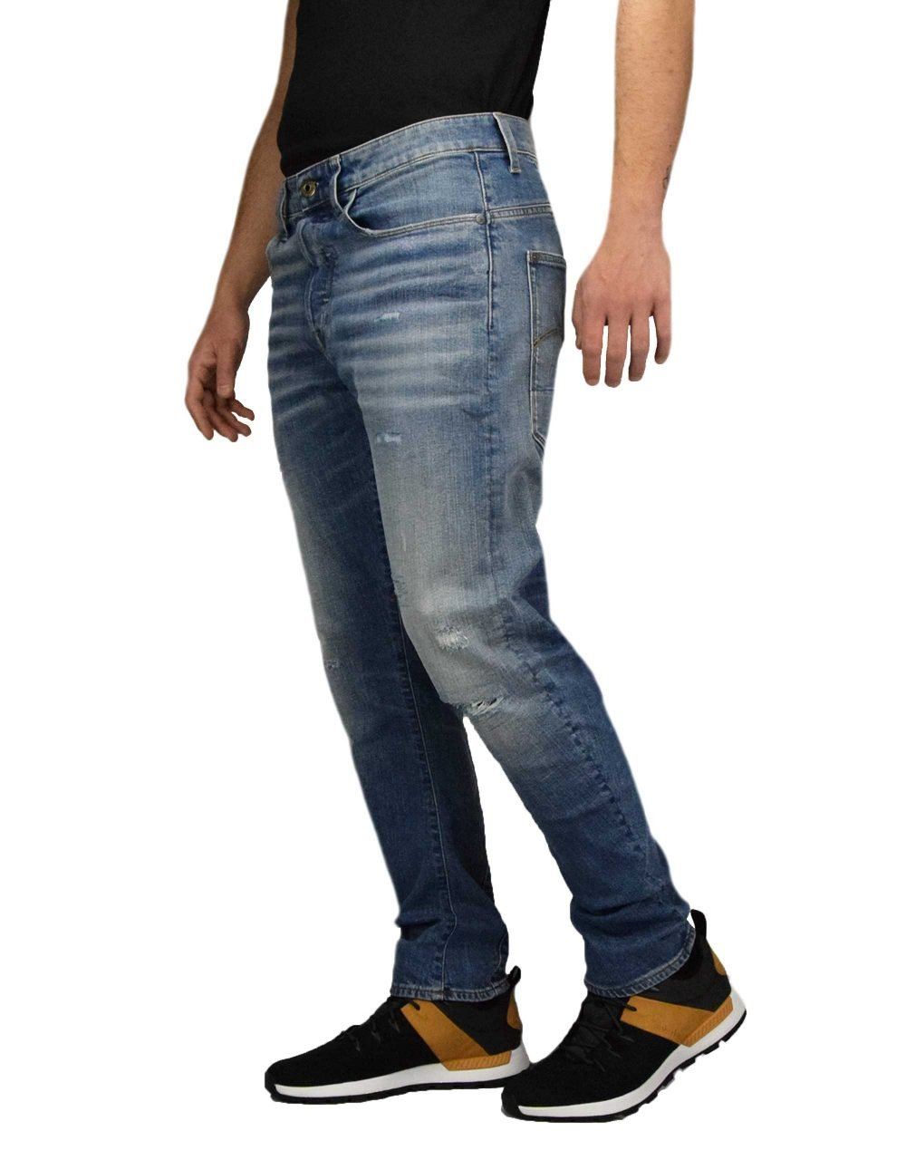 G-Star Raw Type C 3D Straight Tapered (D16851-B767-B190) Ripped Blue Faded