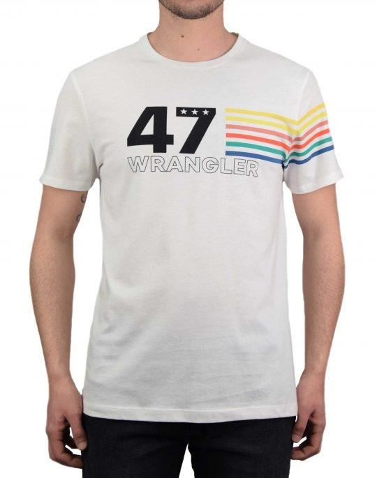Wrangler Rainbow Tee (W7F1FK737) Off White