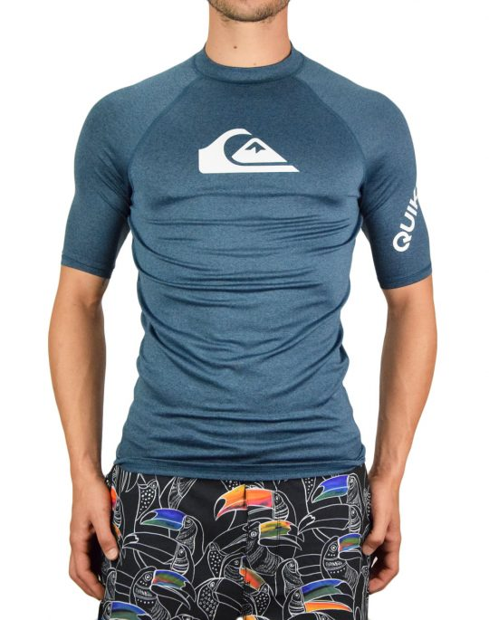 Quiksilver All Time Short Sleeve UPF 50 Rash Vest (EQYWR03228-BSMH) Majolica Blue Heather