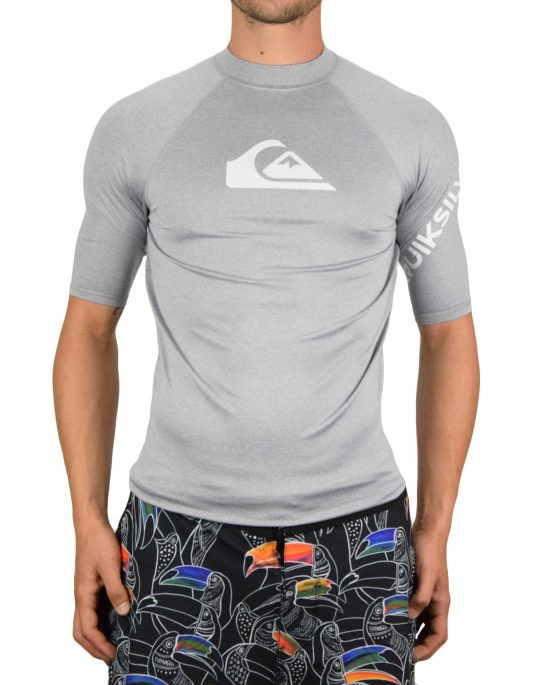 Quiksilver All Time Short Sleeve UPF 50 Rash Vest (EQYWR03228-SZPH) Sleet Heather