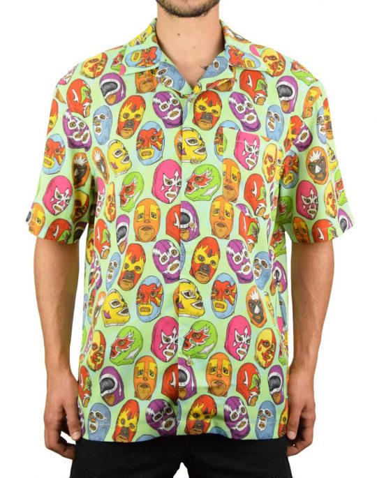 Boardies Mexican Masks Open Collar Shirt (BSS206) Green