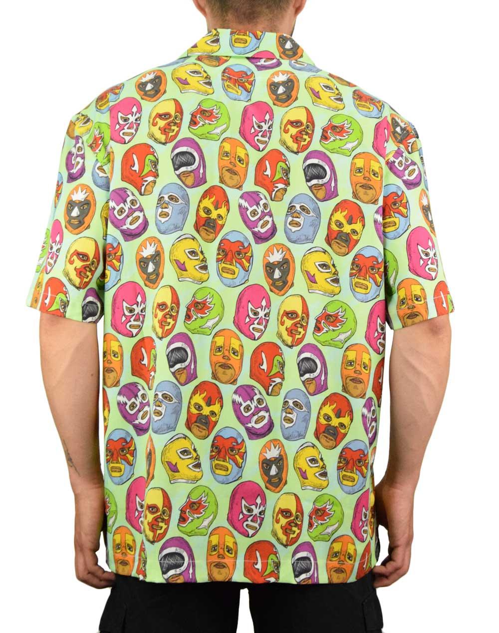Boardies Mexican Masks Open Collar Shirt (BSS206) Green