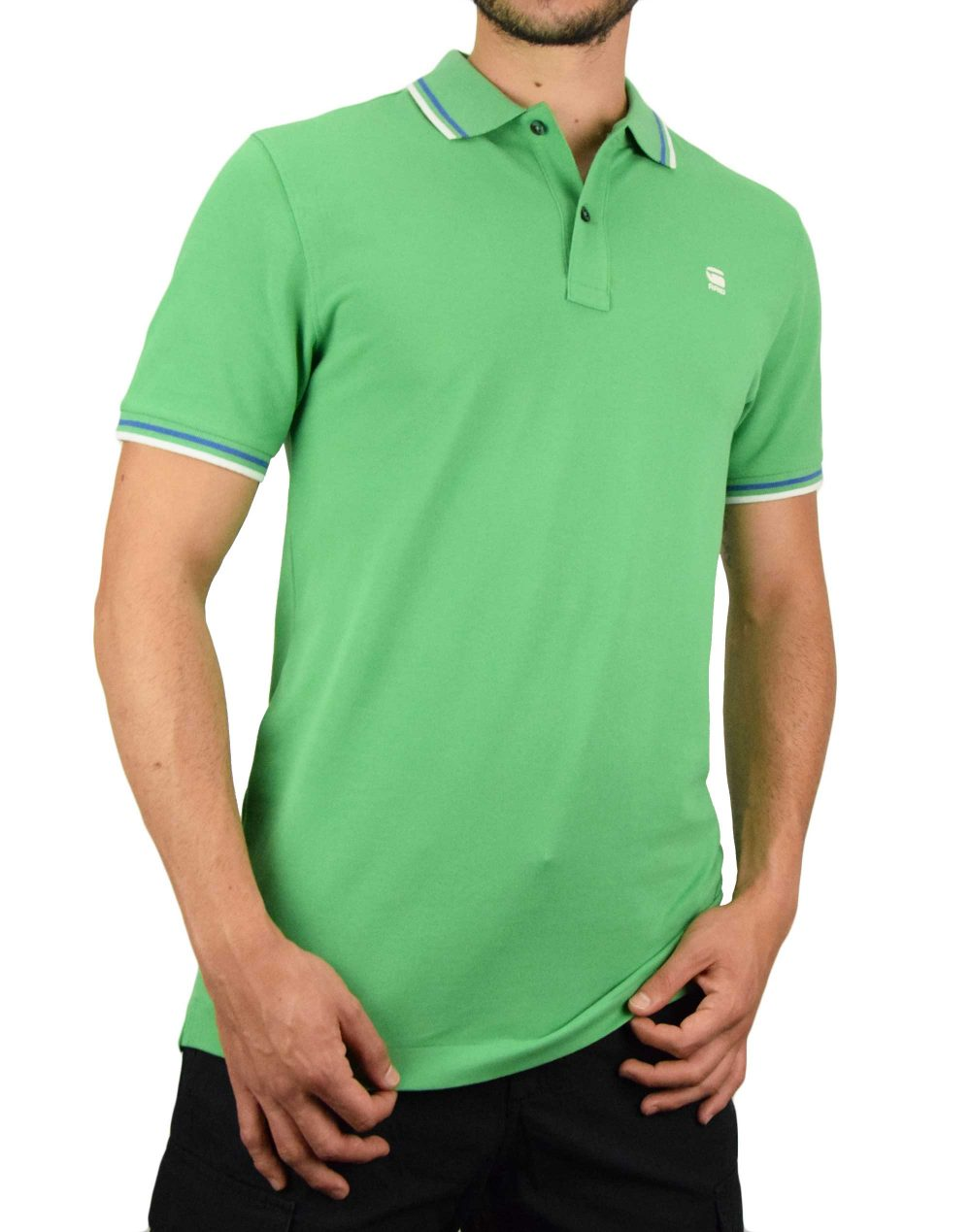 G-Star Raw Dunda Slim Stripe Polo (D17127-5864-1149) Light Leaf
