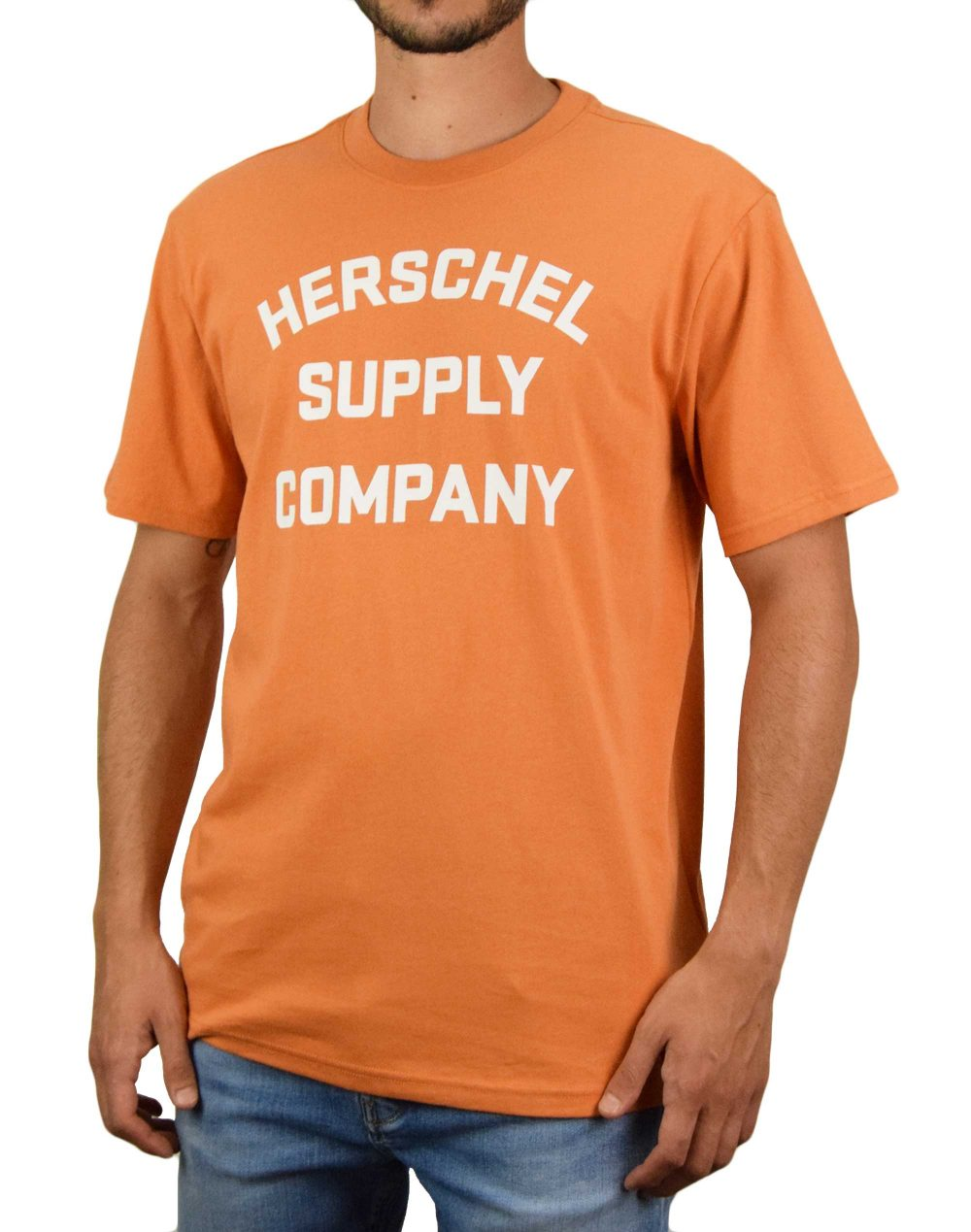 Herschel Supply Co Stacked Chest Tee (50027-00663) Papaya/White