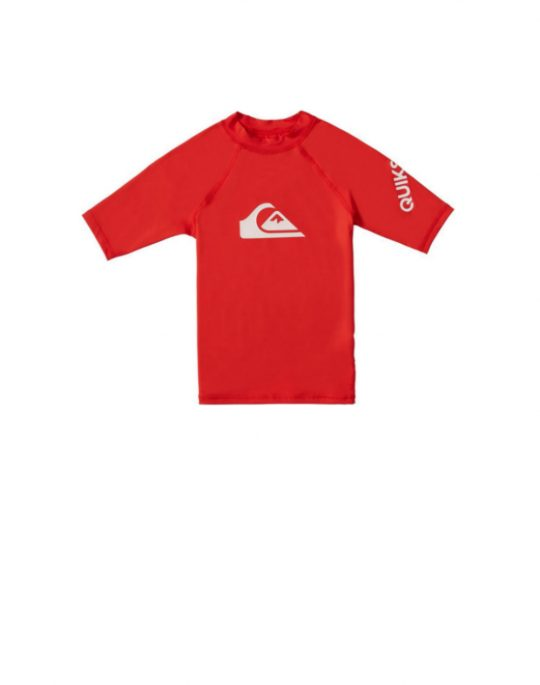 Quiksilver All Time Short Sleeve UPF 50 Rash Vest (EQKWR03077-RQC0) High Risk Red