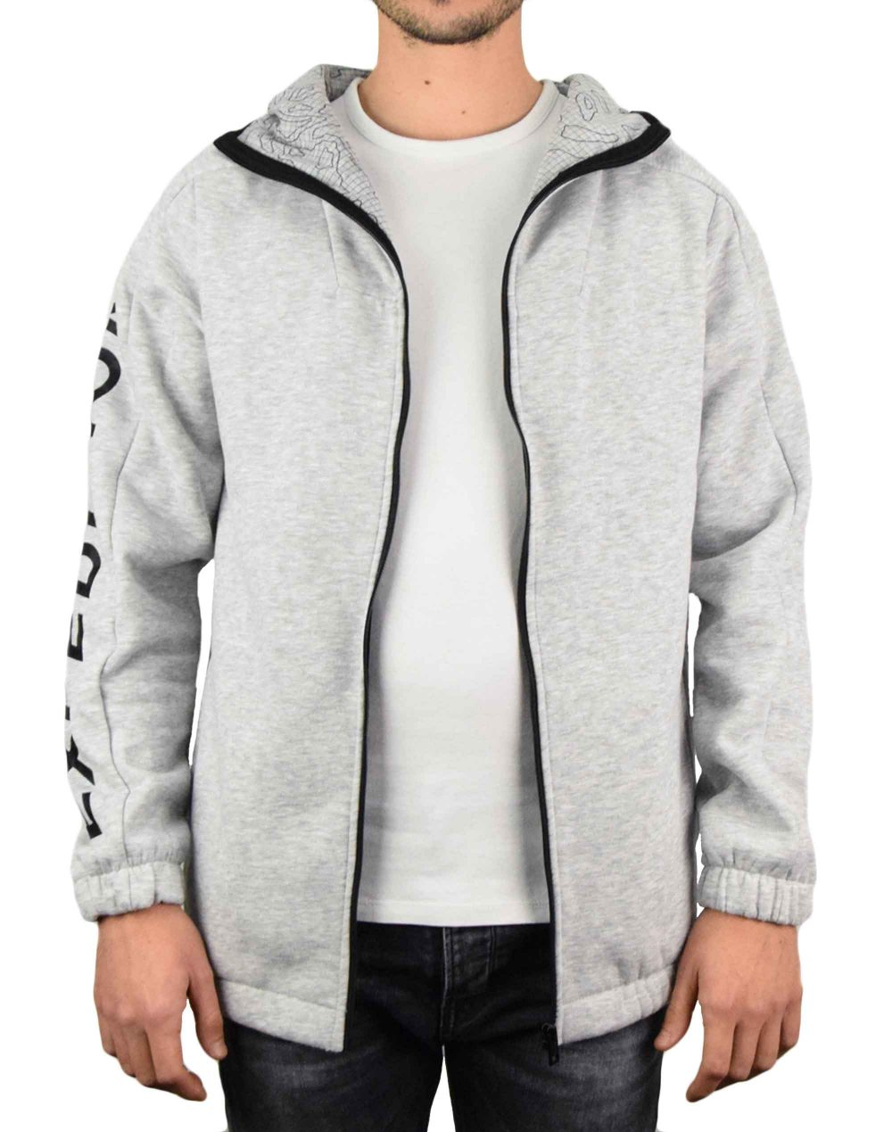 Jack & Jones Coug Sweat Zip Hood (12179645) Grey Melange