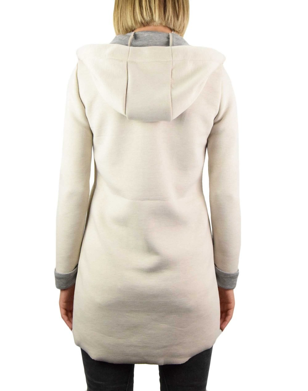 Only Emily Lena Bonded Hood Coat (15216457) Moonbeam/Light Grey Melange