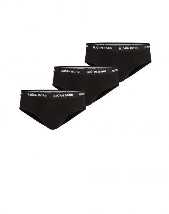 Bjorn Borg Essential Hip Brief Solid 3-Pack Slip (9999-1221-90011) Black