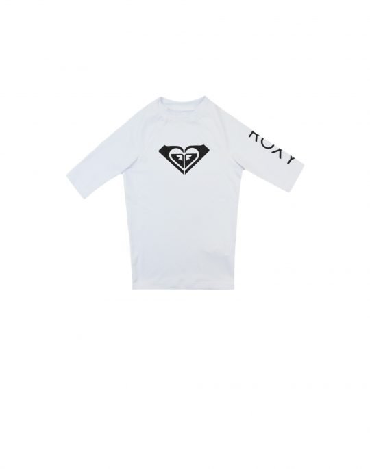 Roxy Whole Hearted Rash Vest for Girls (ERGWR03206 WBB1) White