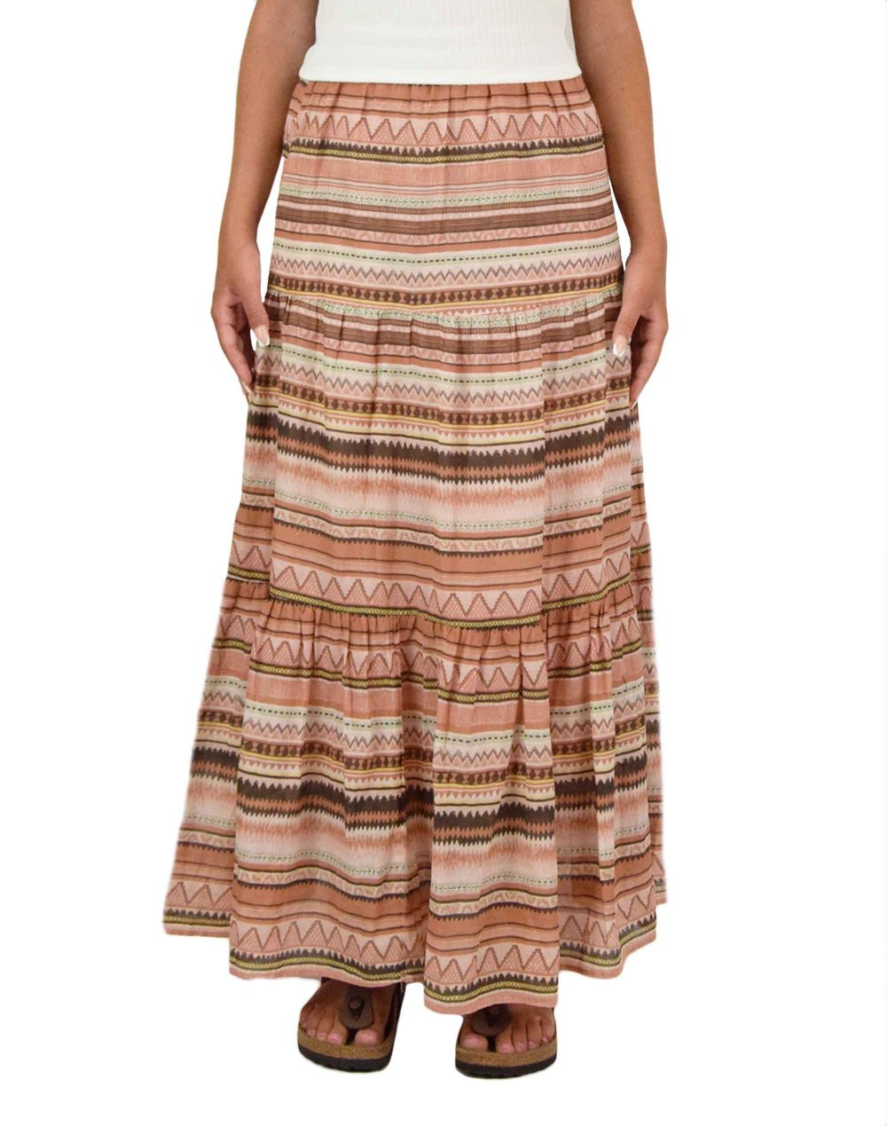 Only Asia Life Maxi Skirt (15230013) Burnt Coral/Desert