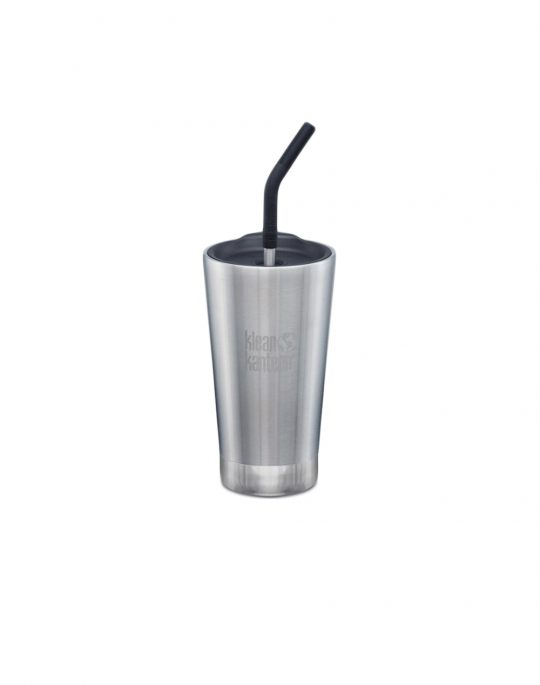 Klean Kanteen Insulated Tumbler With Straw Lid 473ml (1005725) Brusted Stainless