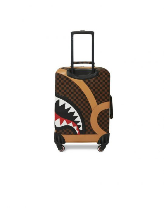 """Sprayground Henny Air To The Throne Cut & Sew Vegan Leather H: 19.5"""" x W: 14.5""""x D: 7"""" Carry-On Luggage (910CL100NSZ) Brown Checker"""