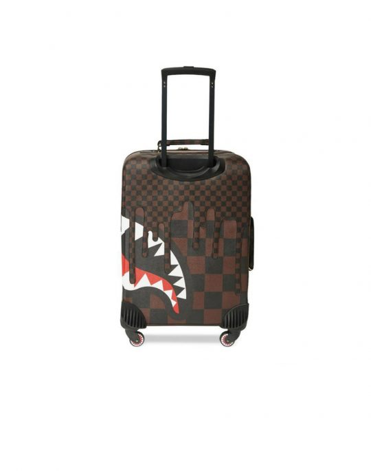 Sprayground XTC Sharks In Paris Cut & Sew Vegan Leather Carry-On Luggage (910CL113NSZ) Brown Checker